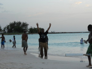 Celebrating my first wicket in beach cricket