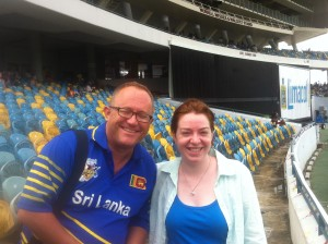 Our gracious host David Oram with Kathleen at a CPL match