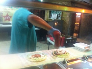 Two gyros getting ready for us. They add garlic sauce, ketch up and bit of pepper sauce as well.