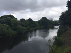Crossing river Taff on way to the cricket ground